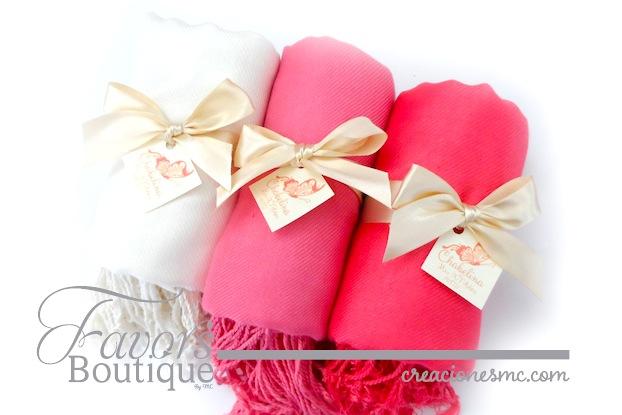 creaciones mc recuerdos xv años pashmina rosa coral y beige - Recuerdos XV Años