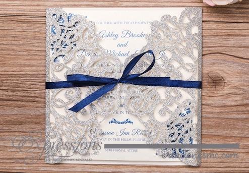 Expressions invitaciones de corte láser mod. ornamentos cuadrada papel brillante - Invitaciones de Corte Láser