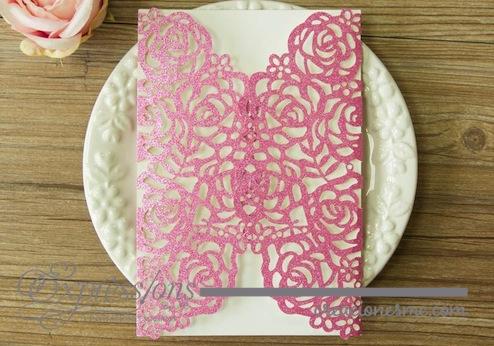 Expressions invitaciones de corte láser mod. rosas papel brillante - Invitaciones de Corte Láser