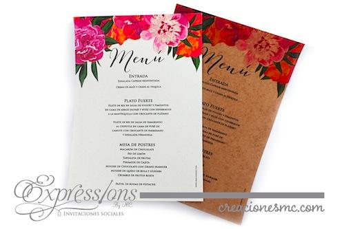 Menu floral Expressions Invitaciones - Complementos de tarjetería