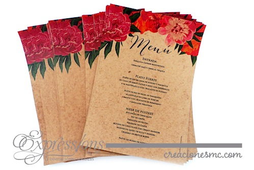 Menu Floral en papel orgánico