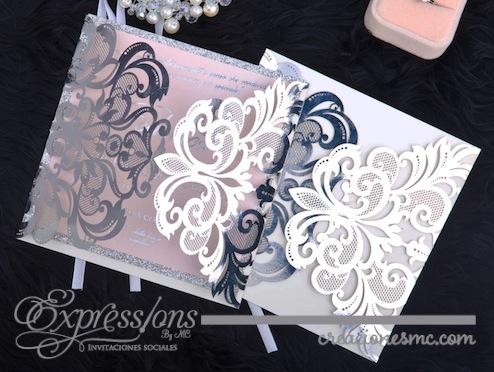 expressions Invitaciones corte laser mod. elegance papel foil - Invitaciones de Corte Láser