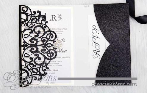 expressions Invitaciones corte laser mod. ornamentos triptica papel brillante - Invitaciones de Corte Láser