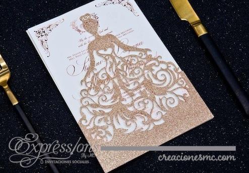 expressions Invitaciones corte laser mod. princess papel brillante - Invitaciones de Corte Láser