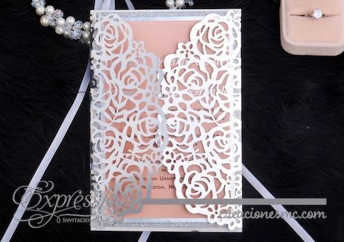 expressions Invitaciones corte laser mod. rosas papel foil - Invitaciones de Corte Láser