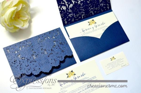 expressions invitaciones corte laser encaje azul - Invitaciones de Corte Láser