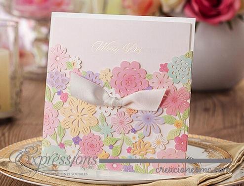 expressions invitaciones de corte laser mod. flores de colores - Invitaciones de Corte Láser