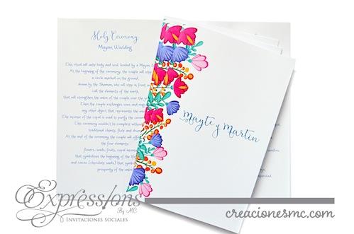 programa para boda diseño floral mexicano expressions invitaciones - Complementos de tarjetería