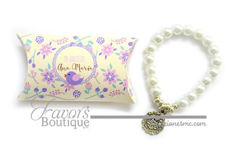 creaciones mc recuerdos bautizo pulsera de perlas en cajita - Recuerdos Bautizo